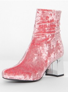 Chunky High Heel Red Velvet Mid Calf Boots