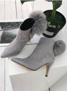 High Heel Grey Ankle Boots For Women