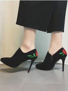 Embroidered Stiletto Heel Black Booties For Women