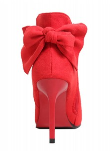 High Heel Red Ankle Boots For Women With Bowknot