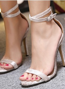 Ankle Strap Velvet Stiletto Heels Sandals