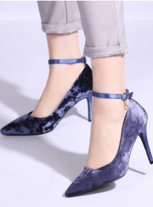 Lace Up Blue Velvet High Heels For Women