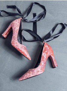 Lace Up Pink Velvet High Heels For Women