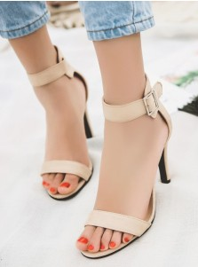 Ankle Strap Black Velvet High Heels Sandals