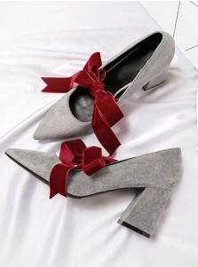 Lace Up Grey Velvet Chunky Heels