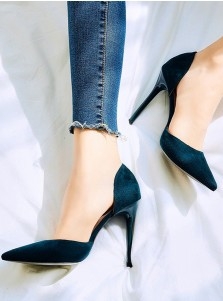 Dark Green Velvet Stiletto Sky High Heels