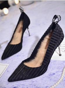 Closed Toe Black Velvet Stiletto Heels