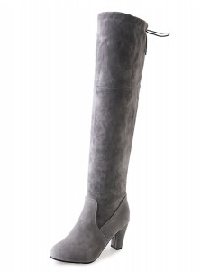 Grey Chunky Heel Over The Knee Boots