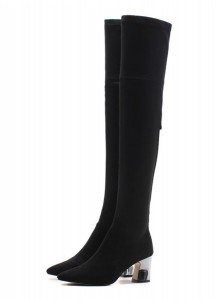Black Chunky Heel Thigh High Boots For Women