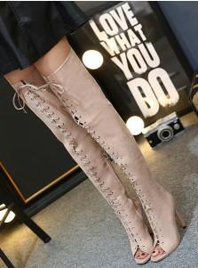 Lace Up Pee-Toe Stiletto Heel Khaki Thigh High Boots