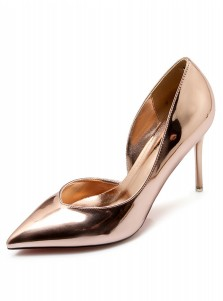 Gold Pointy Toe Stiletto Heel Pumps