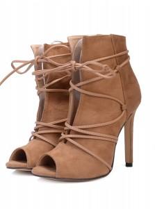 Khaki Peep Toe Lace-up High Heels Sandals
