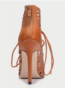 Brown Lace-up Peep Toe High Heels Sandals