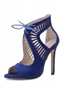 Blue Peep Toe Lace-up Stiletto Heel