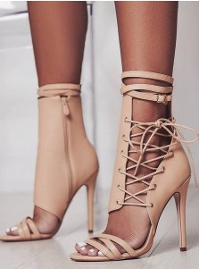 Apricot Peep Toe Lace-up Stiletto Heel Sandals
