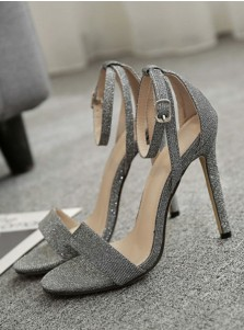 Ankle Strap Open Toe Stiletto Grey High Heels Sandals