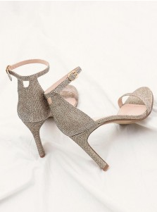 Ankle Strap Open Toe Champagne Stiletto Heels Sandals