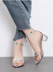 Ankle Strap PVC Chunky Clear Heels Silver Sandals