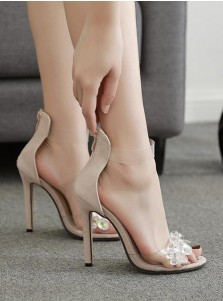 PVC Clear Ankle Strap Stiletto Beige High Heels for Women