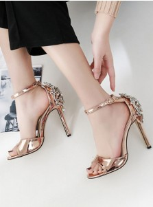 Ankle Strap Rose Gold High Heels Sandals with Beading