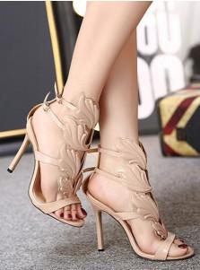 Open Toe Stiletto Beige High Heels Sandals with Buckle