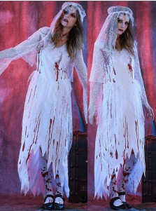 Zombie Bridal Gown Ghost Adult Women Halloween Costume with Shawl