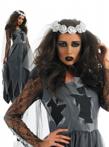 Ankle-Length Black Zombie Bridal Dress with Shawl Neckring