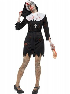Black Nun Dress Halloween Costume with Belt