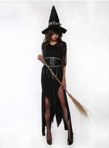 Halloween Horror  Black Witch Costume Ghost Gown