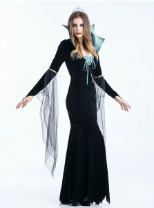 Black Vampire Costumes Halloween Party Costumes Dress with Crown