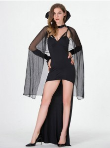 Halloween Costumes for Women Black Vampire Costumes High Low with Wraps