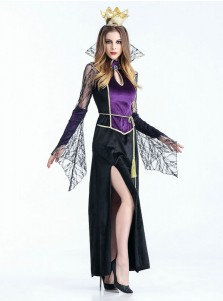 Black Halloween Costumes Long Vampire Costumes with Crown Lace