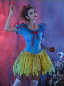 Scary Halloween Costumes Snow White Cosplay Costumes with Red Blood and Tiara
