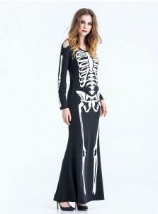 Funny Halloween Costumes Female Easy Skull Black Long Halloween Dress