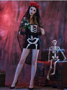 Easy Halloween Costumes for Girls Short Female Skull Halloween Dress with Wraps Gloves