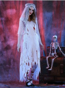 ... Scary Halloween Costumes for Women Zombie Bridal Gown Ghost Costumes  with Veils bae4c550a756