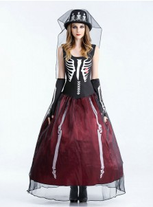 Halloween Gowns Female Skull Vampire Zombie Halloween Costumes with Gloves Hat