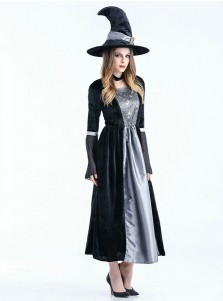 Adult Halloween Costumes Long Satin Witch Costumes with Witch Hat