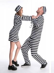 Adult Halloween Couple Costume Prisoner Costume Jail Man/women Convict Dress