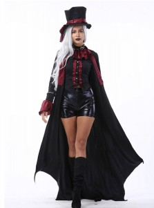 Vampire Couples Costume Adult Gothic Dracula Halloween Costumes with Long Cape