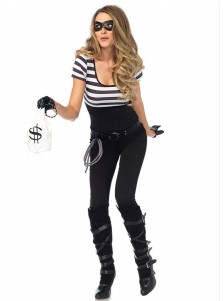Couples Bank Robber Costumes White Stripe Halloween Cosplay Costumes