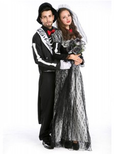 Adult Halloween Cosplay Costume Zombie Bride Or Bridegroom Couples Halloween Costume