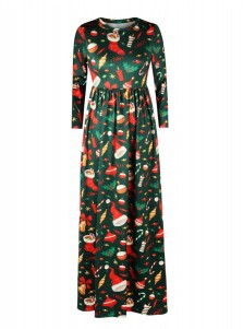 Dark Green 3D Printed 3/4 Sleeves Christmas Maxi Dress