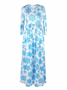 Blue Snowflake 3/4 Sleeves White Christmas Maxi Dress
