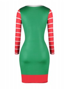 Green Long Sleeves Short Santa Bodycon Dress