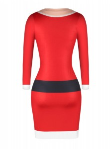 Red Crew Neck Long Sleeves Letter Printed Bodycon Dress