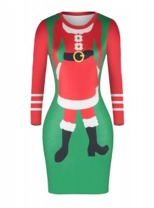 Multi Color Long Sleeves Santa Printed Bodycon Dress