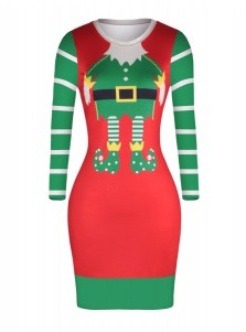 3D Printed Santa Long Sleeves Short Bodycon Dress