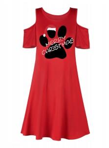A-Line Letter Printed Cold Shoulder Red Shift Dress