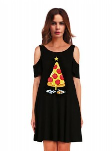 A-Line 3D Printed Pizza Cold Shoulder Black Shift Dress